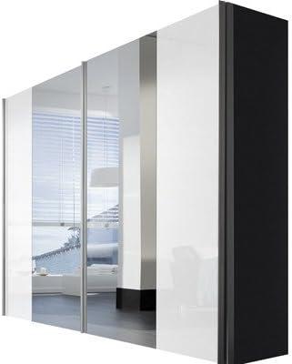 Solutions 04430 – 967 – Armario de Puertas correderas (2 Puertas Cuerpo y Frontal Listones de Mango de Grafito, Espejo, Aluminio, 68 x 250 x 216 cm: Amazon.es: Hogar