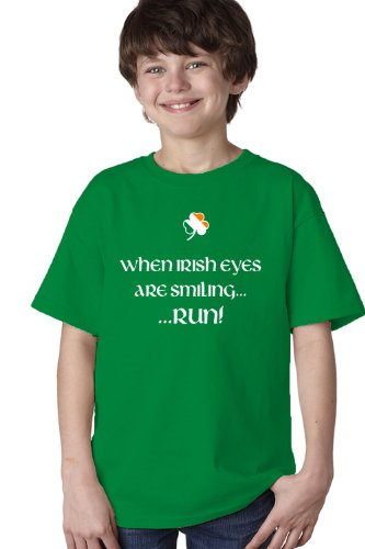 WHEN IRISH EYES ARE SMILING, RUN! Youth T-shirt / St. Patrick's Day Irish Pride Tee Shirt