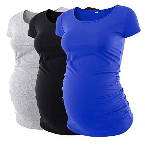eadecc1f Liu & Qu Womens Maternity Classic Side Ruched T-Shirt Tops Mama Pregnancy  Clothes