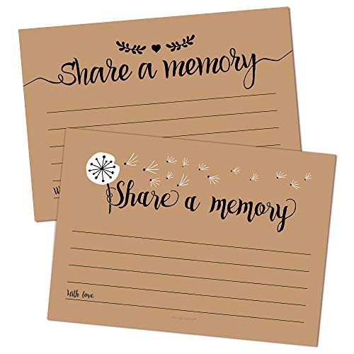 50 Share A Memory Cards - Perfect for Celebration of Life, Memorial, Funeral, Retirement, Going Away Party, Birthday, Graduation, Anniversary, Wedding, Bridal Shower - 2 Rustic Designs, 25 Cards Each]()