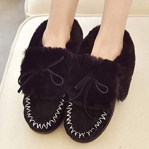 Noir Femme Neige Bowknot Doublure Avec Chaude Mocassins chaussons Bottes De 6qfg6