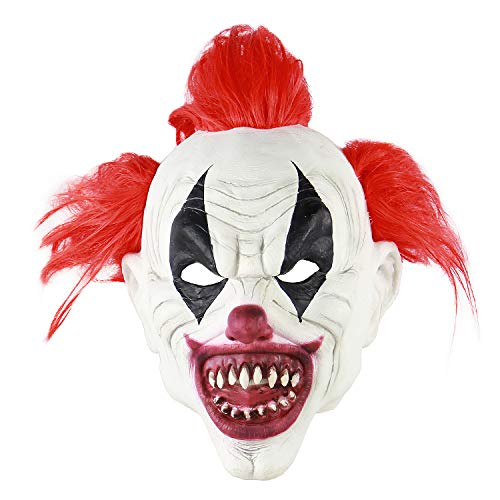 Halloween Head Mask ,Scary Clown Killer Prop,Horrific Demon Monster Party Masquerade Bloody Costume Movie Decor -