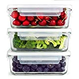 [3 SETS 30 OZ] SIMPLYESTA Glass Food Storage Containers - Glass Meal Prep Containers - Reusable Microwave Safe BPA Free Lunch Containers with Smart Snap Locking Lid Guarantee 100% Airtight Leakproof