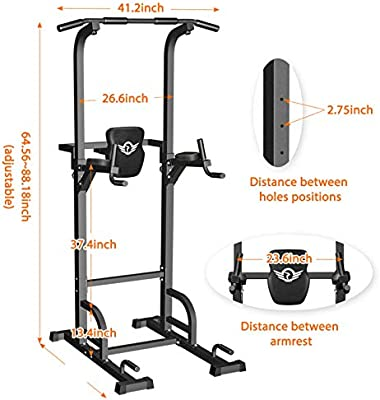 Sportsroyals Power Tower Dip Station Pull Up Bar for Home Gym Strength Training Workout Equipment, 400LBS.: Amazon.sg: Sports, Fitness & Outdoors
