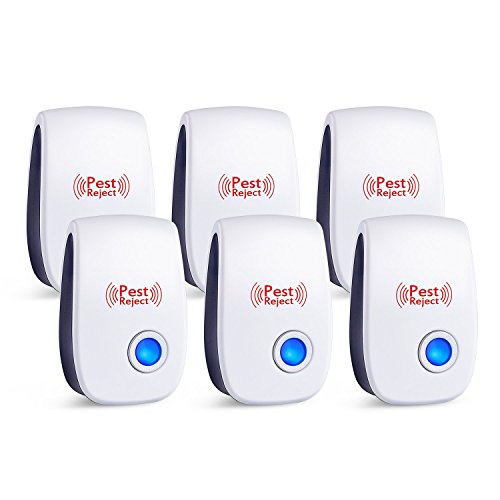 2018 Ultrasonic Pest Repeller Plug in Pest Control - Electric Mice Repellent & Mosquito Repellent in Pest Repellent - Ant Repellent for Fly,Mouse,Rat,Roach,Spider,Flea,Bug (white - 6 pack)