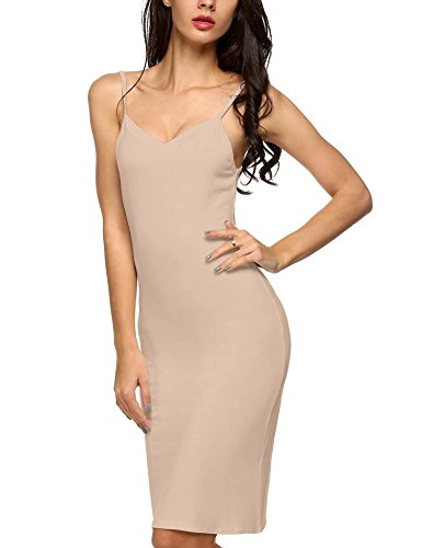 Corgy Women's Long Spaghetti Strap Full Cami Slip Camisole Under Dress Liner S-XXL(Skin,M)