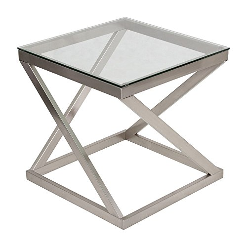Ashley Furniture Signature Design - Coylin Glass Top Square End Occasional End Table - Contemporary - Brushed Nickel Finish Contemporary Glass Side Table