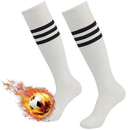 (Soccer Socks Unisex Three Street Sport Cushioned Knee-High Length Wicking Moisture Long Tube School Team Socks for Football Rugby White Black Stripe 2 Pairs Size 7-13)