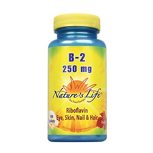 Nature's Life Vitamin B-2 250mg | Powerful Support for Healthy Skin & Metabolism | Easy-to-Swallow Tablets | Non-GMO & Vegetarian | 100ct
