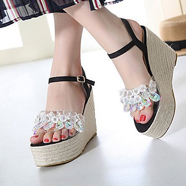 Women's 5 Heel US6 Dress Gray Patent EU37 Summer Leather 5 Black 5 Silver Crystal Wedge CN37 Sandals 7 UK4 gqrgwp