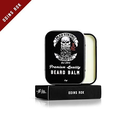 (Mad Viking Beard Co. All-Natural, Premium Beard Balm, Strengthens, Softens Beards & Mustaches, Moisturizes Skin, Helps Relieve Acne & Dry Skin. Paraben, Sulfate & Cruelty-Free, 2oz (Odin's Rök))