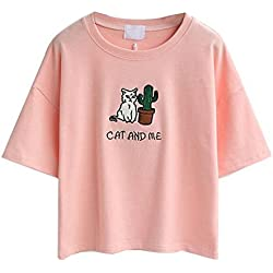 HLWLWOLFOYC Womens Embroidery Letter Cat Short Sleeves Crop Tops Pink