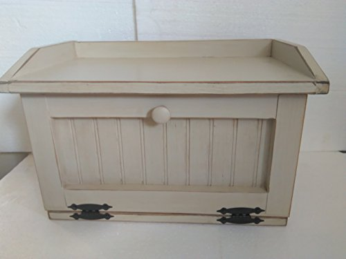 Primitive Country Shabby Cream Colored Breadbox Bread Box Storage Counter Top Cubby