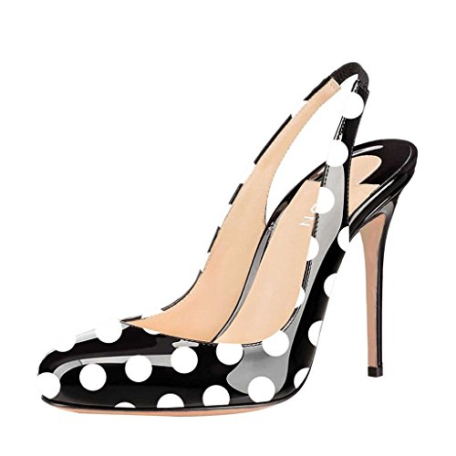 YDN Women Round Toe High Heels Pumps Slip on Stiletto Patent Evening Shoes with Slingback Black-Polka Dots 9 (Dot Pumps Polka)