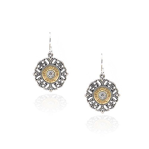 Antiqued Stamped Brass - Antiqued Golden Bullet Drop Earrings with Silver Filigree