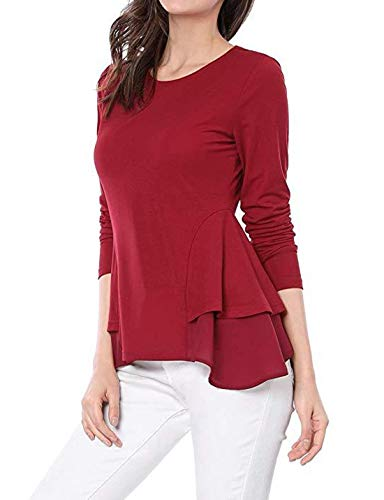 Primavera e Autunno Donne Tops Casual Rotondo Collo Maglie a Manica Lunga Cime Bluse Maglietta Moda Irregolare Lato Foglia di Loto T-Shirt Jumper Camicie Rot