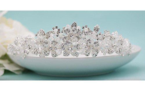 Ada Silver Swarovski Crystal and Rhinestone Wedding Tiara by Ladorn