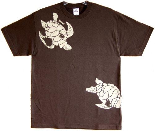 Maui Imprint - Honu Turtle Hawaiian Aloha Pre-Shrunk Premium Quality Cotton T-shirt in Chocolate - - Chocolate Hawaiian Shirt Aloha