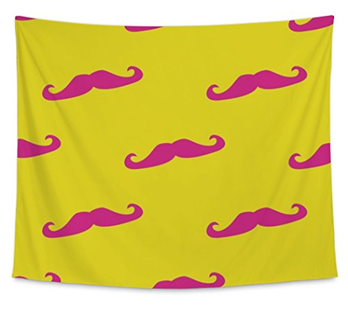 [Gear New Wall Tapestry, Pattern With With Neon Pink Mustache On Sunny Yellow, Large, 104 inches wide by 88 inches] (Dali Mustache Costume)