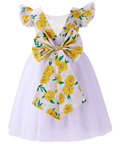 Dresses for Girls Floral Ruffle Dress Kids Flutter Party Tutu Dress Summer Girl Clothes Ruffle Sleeve Toddler Maxi Long Flower Girl Dress Bridesmaid Wedding Gown Daisy White 03 6-7 Years