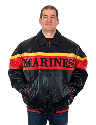Leather Bomber Style Jacket (OARSMAN 916 Men's Marines Faux Leather Bomber Style Jacket (X-Large))