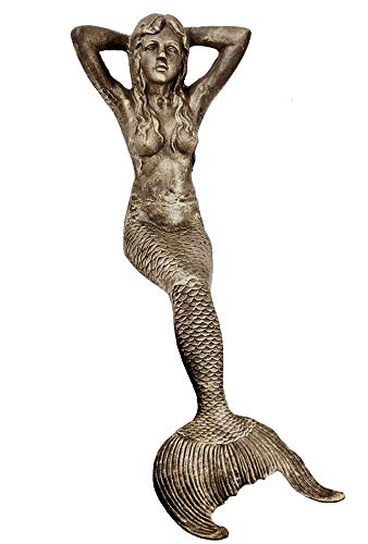 48″ Sitting Sunning Mermaid Statue Iron Antique Gold Finish