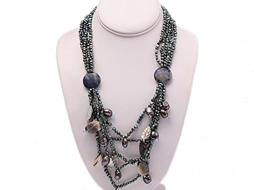 JYX 4-5mm Dark-gray Flat Freshwater Pearl and Shell Necklace