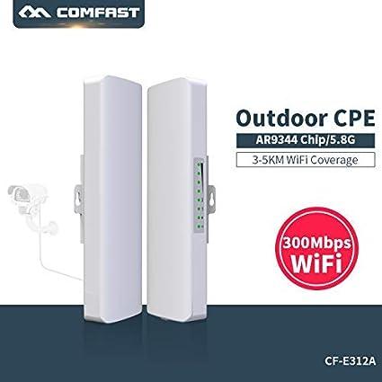 COMFAST WiFi Repetidor 300Mbps 5.8Ghz Punto de Acceso Inalámbrico CPE Exterior WiFi Puente de Red Transmisión para Larga Distancia del Punto de Acceso ...