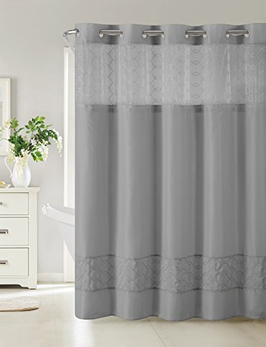 Hookless RBH40MY095 Downtown Soho Shower Curtain with PEVA liner - Slate