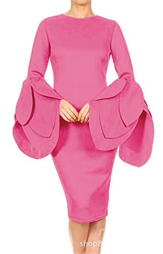 Recious Womens Sexy Long Petal Sleeve Ruffles O Neck Bodycon Party Clubwear Casual Dress (L, Pink) (Dress Petal Sleeve)