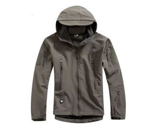 Noga Grey Men Outdoor Hunting Camping Waterproof Soft shell Coats Jacket Hoodie