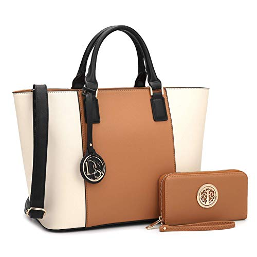 MMK Collection Two tone Designer Handbags for women~ Large Fashion Purses & Handbags~ Beautiful Tote Style(6417) with Free Wallet~Perfect handbag set for Her(6417-Brown/Beige) ()