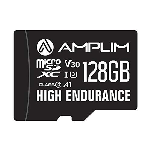 High Endurance 128GB MicroSDXC Card for Video Monitoring Cameras - Dash Cam, Body Cam, Surveillance Cam, Home Security Cam, Drone, Action Camera. Amplim U3, V30, A1, 4K UHD, Micro SD TF with Adapter