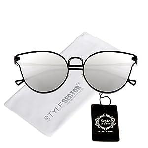 Womens Cat-Eye Mirrored Sunglasses UVA Protection (Silver)