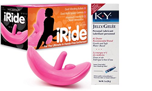 Bundle Package Of iRide Clit Stimulating Vibrator Pink And a K-Y Jelly 2oz. Tube by Doc Johnson