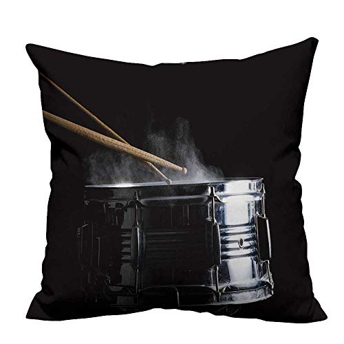 YouXianHome Zippered Pillow Covers Drum Sticks hit Snare Drum in Black backgroun Low Key Decorative Couch(Double-Sided Printing) 35x35 inch