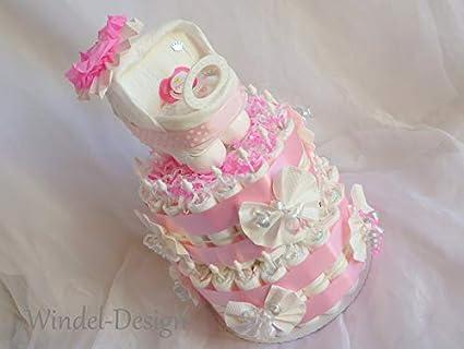 Tarta Pañales Pañales Pañales carro para niña, XXL para tartas regalo, Baby Party,
