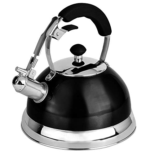 Premium Quality 18/8 Food Grade Heavy Gauge Black Stainless Steel Whistling TEA KETTLE with Ergonomic Soft Grip Anti-Hot Handle BY UNIWARE- Stovetop pot 2.7 qt. 12 Cup Teapot