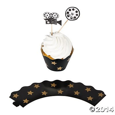 [Movie Night Cupcake Wrappers with Picks - 100 pcs, makes 50] (Movie Star Costume Party)