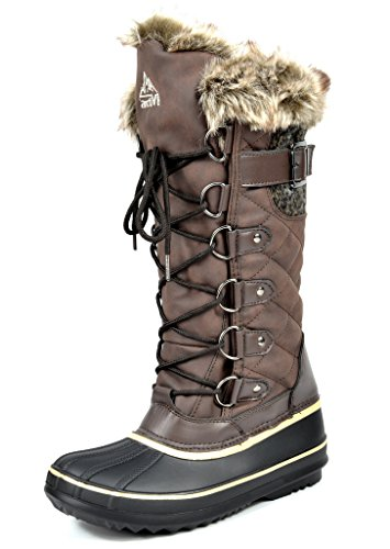Brown Faux Fur Boots (ARCTIV8 AVALANCHE Women's Winter Insulated Faux Fur Lining Cozy Warm Water Resistant Snow Boots Brown Size)