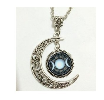 Moon necklace glass art picture triple goddess pendant wiccan moon necklace glass art picture triple goddess pendant wiccan jewelry moon goddess jewelry aloadofball Image collections