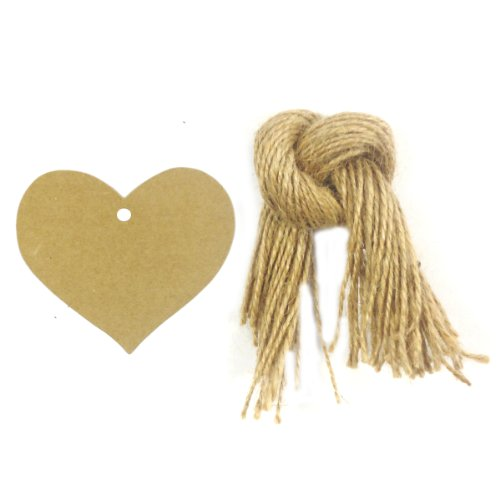 (Allydrew 50 Gift Tags/Kraft Hang Tags with Free Cut Strings for Gifts, Crafts & Price Tags, True Heart)