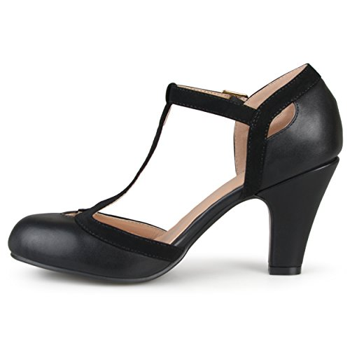 Journee Collection T-strap Bout Rond Mary Jane Pumps Noir