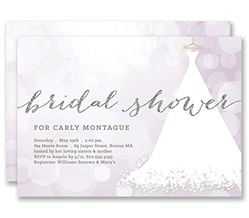 (Purple Bridal Shower Invitations Bokeh Wedding Dress Silver Glitter Look Personalized Boutique Invites with Envelopes - Carly style)