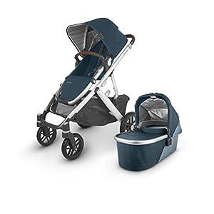 UPPAbaby-Vista-V2-Stroller-Finn-Deep-SeaSilverChestnut-Leather-Upper-Adapters-RumbleSeat-V2-Finn-Deep-SeaSilverChestnut-Leather