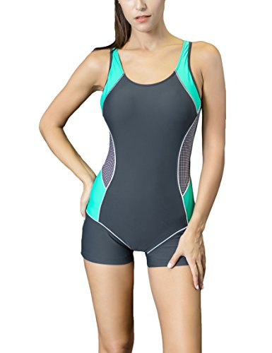 Spring Fever Women Slimming One Piece Boyleg Swimsuit Raceback Athletic Swimwear Grey Green Medium (US (Hottest One Piece Swimsuits)