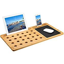 LANGRIA Bamboo Lap Desk Tray Board Multi-Tasking Laptop Computer Tablet Cellphone Stand Holder with Built-in Mouse Pad (22 x 11 x 0.5 inches, Bamboo)