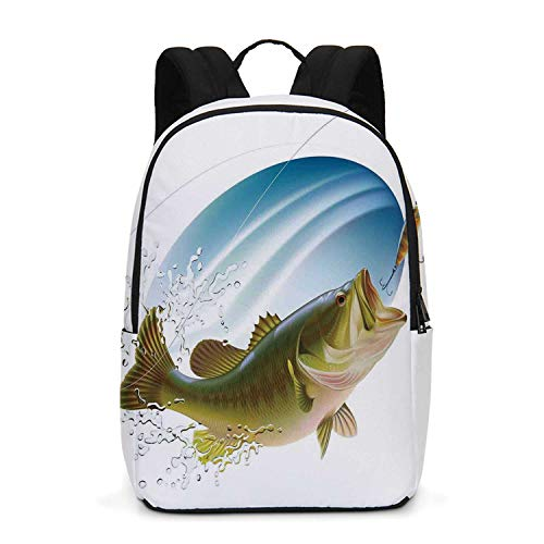 Fishing Decor Durable Backpack,Largemouth Sea Bass Catching a Bite in Water Spray Motion Splash Wild Image for School Travel,One_Size