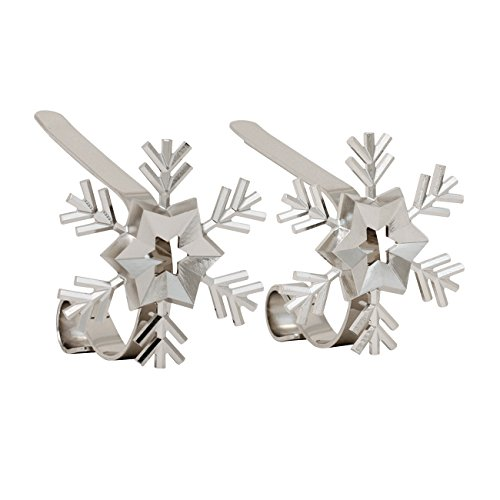 Holder Stocking Holiday (Haute Decor MantleClip Stocking Holders with Removable ZINC Alloy Holiday Icons (2-Pack Snowflake, Silver))