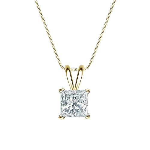 Diamond Wish 18k Yellow Gold Princess-Cut Diamond Solitaire Pendant Necklace (1/2 ct, G-H, VS2-SI1) 4-Prong Basket set with 18